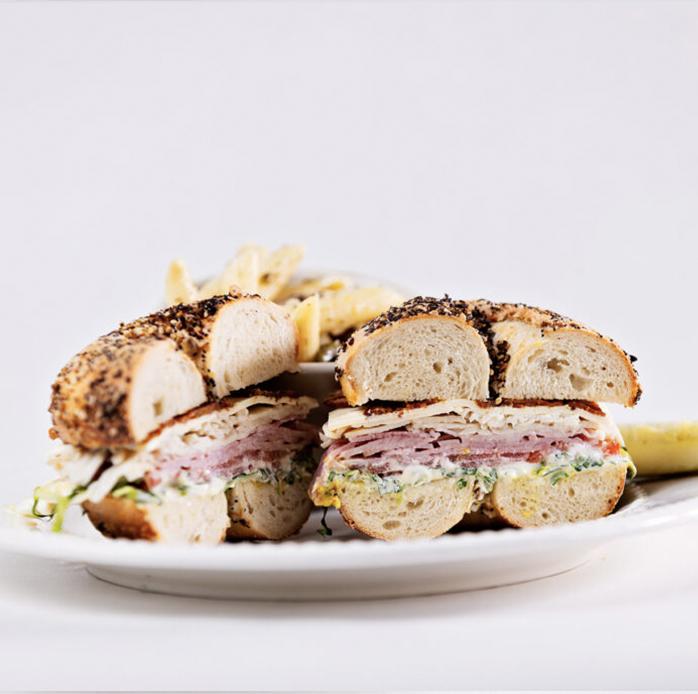 Club sandwich on a bagle cut