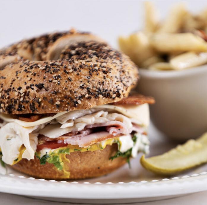 Club sandwich on a bagle