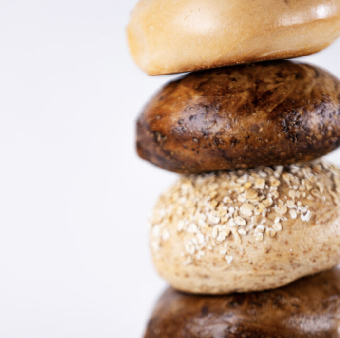 close up of stack of bagels