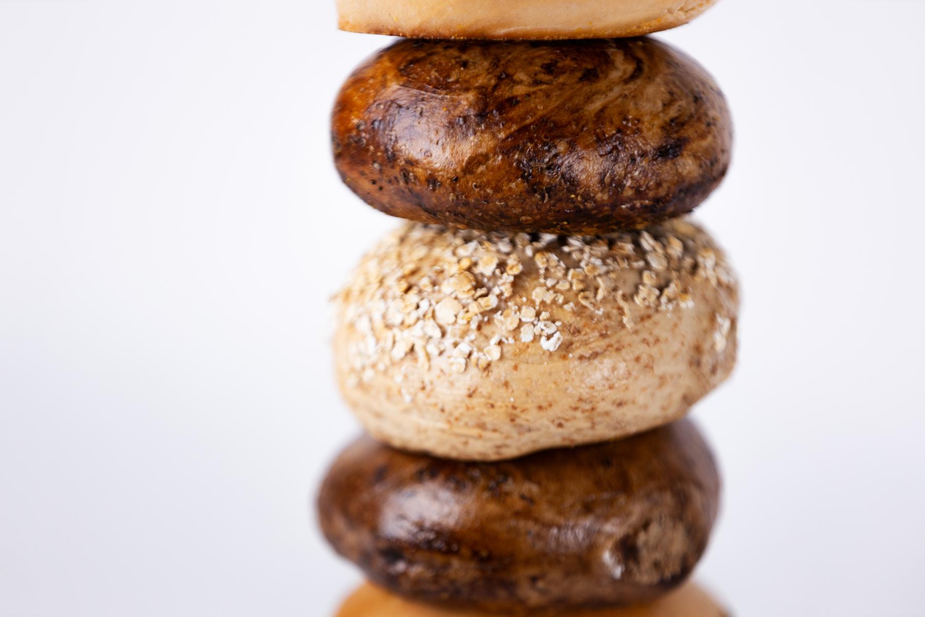 oat bagel in stack