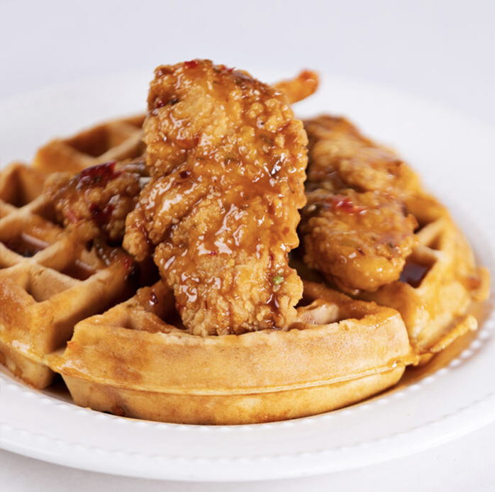 close up of chicken and waffle