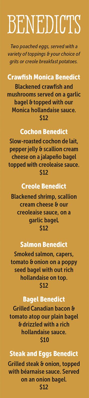 benedicts menu